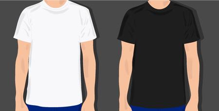 dress shirt: set male t shirts, realistically painted T shirt on young man Illustration