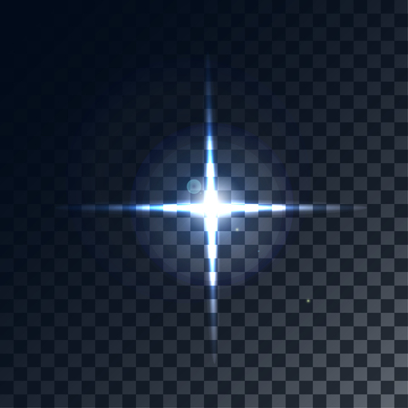 A bright flash of light. Star in space. Bright vector shine. realistic len flare beam and flash on transparent background  vector illustration Illustration