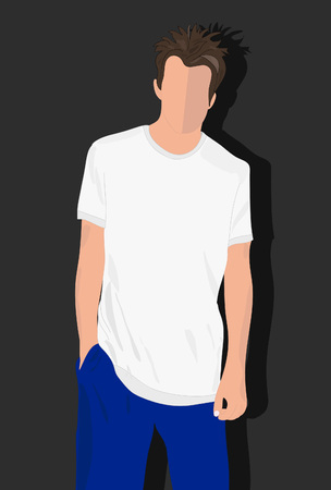 t shirt man: male t shirt, realistically painted T shirt on young man