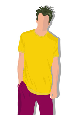 t shirt man: set male t shirts, realistically painted T shirt on young man Illustration