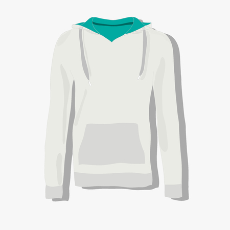 hooded top: realistically painted hoody, beautiful hoody in flat style