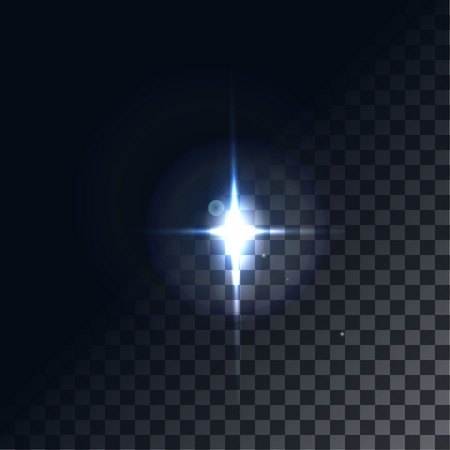 len: A bright flash of light. Star in space. Bright vector shine. realistic len flare beam and flash on transparent background  vector illustration Illustration