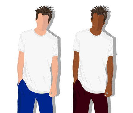 realistically: male t shirt, realistically painted T shirt on young man