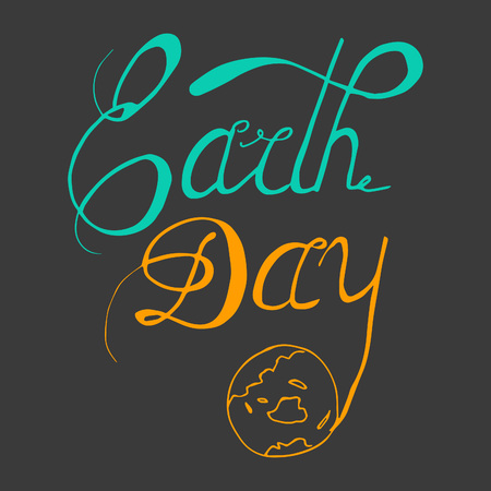 mindful: Earth Day - perfect design element for housewarming poster, t-shirt design. Handdrawn lettering. Vector art.