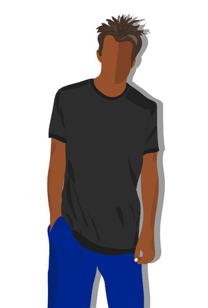 black men: male t shirt, realistically painted T shirt on young man