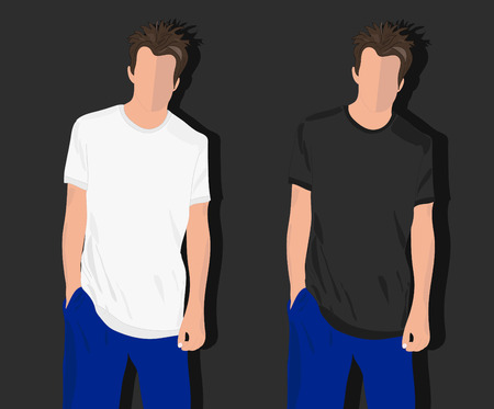 realistically: set male t shirts, realistically painted T shirt on young man Illustration