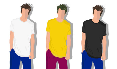 mens clothing: set male t shirts, realistically painted T shirt on young man Illustration