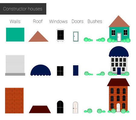 the details: Vector illustration, set cool detailed  houses icons isolated on white background. constructor Houses, details