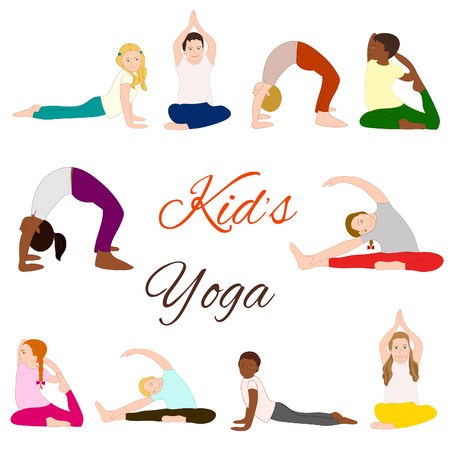 adolescent african american: Yoga kids set. Gymnastics for children and healthy lifestyle. Vector illustration.