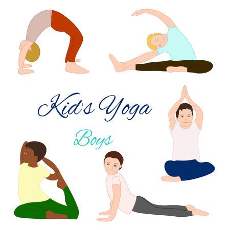 african boy: Yoga kids set. Gymnastics for children and healthy lifestyle. Vector illustration.