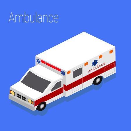 evacuation: Flat 3d isometric style ambulance emergency medical evacuation accident, concept web infographics vector illustration.
