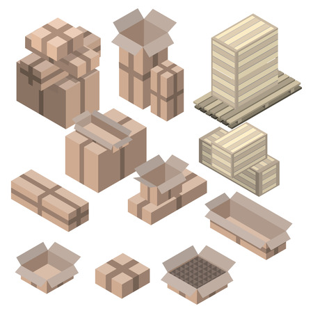 storage facility: Set of  isometric cardboard boxes isolated on white. Vector boxes and shelving, Wood boxes Illustration