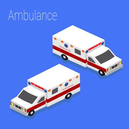 evacuacion: accidente de evacuaci�n m�dica plana 3D isom�trica estilo ambulancia de emergencia, el concepto de infograf�a web ilustraci�n vectorial.