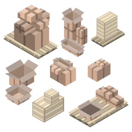 Ensemble de boîtes en carton isométriques isolé sur blanc. boîtes Vector et étagères, des boîtes de bois