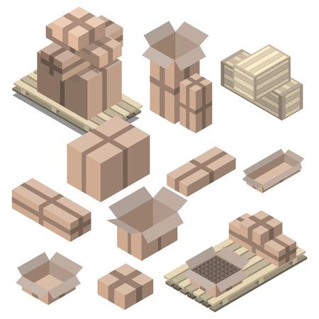 Ensemble de boîtes en carton isométriques isolé sur blanc. boîtes et étagères, des boîtes en bois Vecteurs