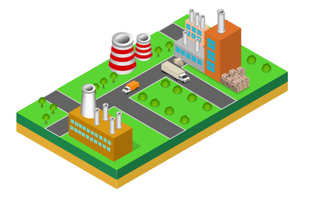 storage facility: industrial buildings factories and boilers in perspective, isometric factories