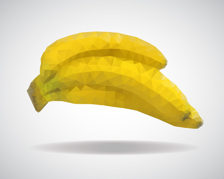 flesh colour: low poly banana, yellow bananas from triangles