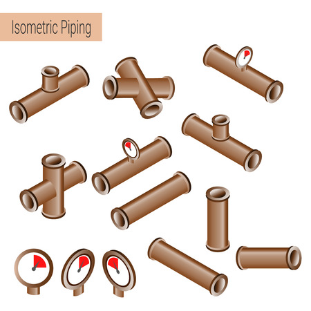 fittings: 3d flat isometric illustration collection of detailed Construction Pieces: pipes, fittings, gate valve, faucet, ells.