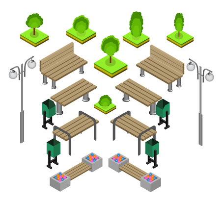 streetlight: Bench. Outdoor park benches Icon Set. Wooden benches for rest in the park. Flat 3d isometric vector illustration for infographics. isometric details Park: bench, lights, bushes, trees, urns Illustration
