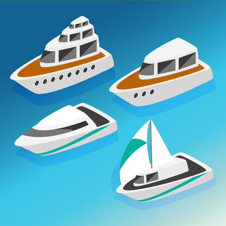 metaphoric: Ships yachts boats  isometric icons set isolated vector illustration. Flat 3d isometric ocean sea nautical water transport logistics concept web infographics vector illustration icon set.