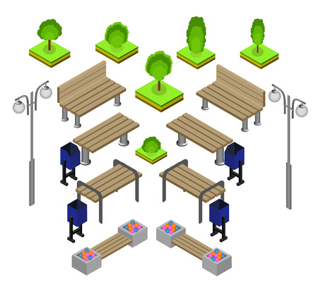outdoor lights: Bench. Outdoor park benches Icon Set. Wooden benches for rest in the park. Flat 3d isometric vector illustration for infographics. isometric details Park: bench, lights, bushes, trees, urns Illustration