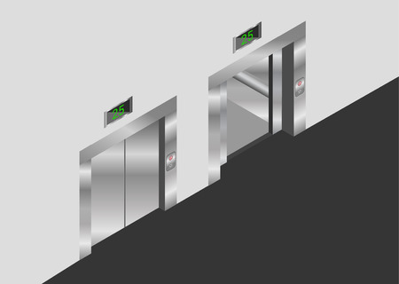 lift gate: elevator isometric design set with closed and open doors