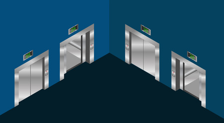 stage door: elevator isometric design set with closed and open doors