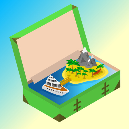 open road: Trip to Summer holidays. Travel to Summer holidays. Vacation. Road trip. Tourism. Travel banner. Open suitcase with landmarks, Sea and island. Journey. Travelling 3d isometric illustration. Modern flat design banner Illustration