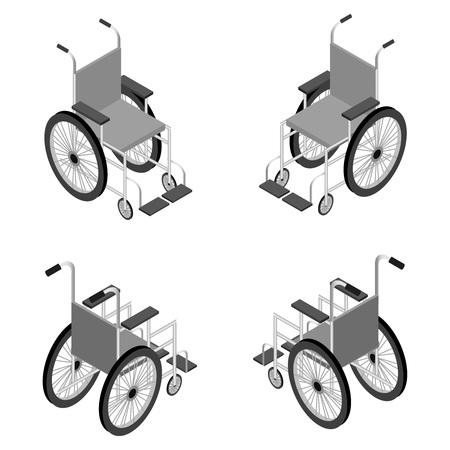 휠체어 상세한 아이소 메트릭 아이콘 벡터 그래픽 그림.