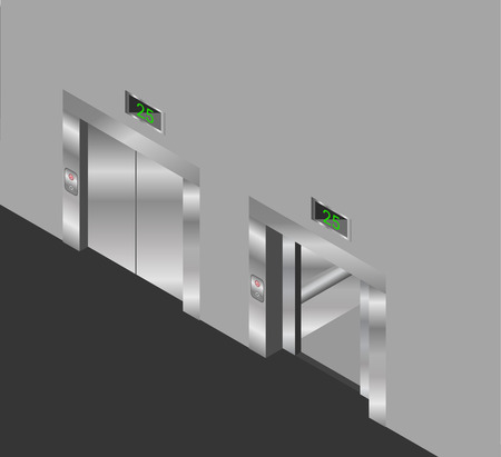 stage door: elevator isometric design set with closed and open doors