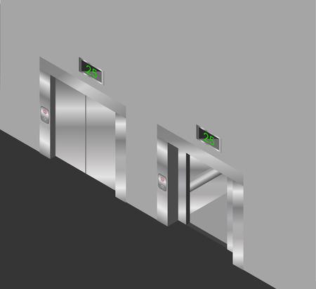open doors: elevator isometric design set with closed and open doors