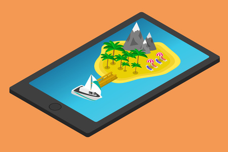travel phone: Isometric tropical island on mobile phone or tablet. Summer travel concept Illustration