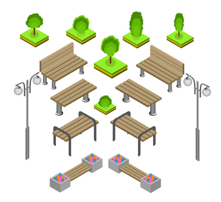urns: Bench. Outdoor park benches Icon Set. Wooden benches for rest in the park. Flat 3d isometric vector illustration for infographics. isometric details Park: bench, lights, bushes, trees, urns Illustration