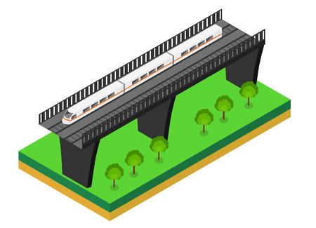 high speed railway: Fast Train. Vector isometric illustration of a Fast Train. Vehicles designed to carry large numbers of passengers. Isolated vector of modern high speed train. isometric train on a railway bridge