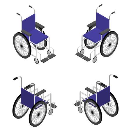 휠체어 상세한 아이소 메트릭 아이콘 벡터 그래픽 일러스트입니다.