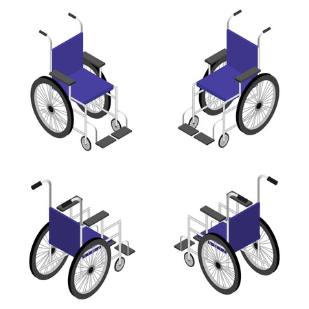 crippled: Wheelchair detailed isometric icon vector graphic illustration.