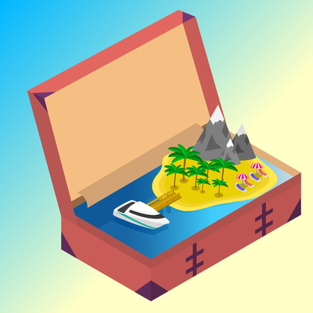 open sea: Trip to Summer holidays. Travel to Summer holidays. Vacation. Road trip. Tourism. Travel banner. Open suitcase with landmarks, Sea and island. Journey. Travelling 3d isometric illustration. Modern flat design banner Illustration