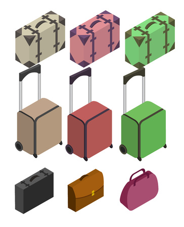 travelers: Travelers suitcases. The objects are isolated against the white background. Suitcase, large polycarbonate suitcase. Travel plastic suitcase with wheels realistic. Flat 3d Vector isometric illustration.