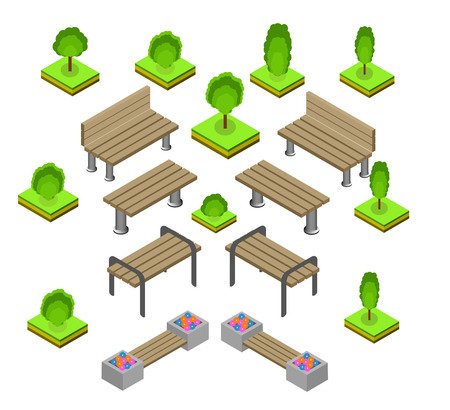 timber bench seat: Bench. Outdoor park benches Icon Set. Wooden benches for rest in the park. Flat 3d isometric vector illustration for infographics. isometric details Park: bench, lights, bushes, trees, urns Illustration