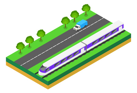 high speed train: Fast Train near highway. Vector isometric illustration of a Fast Train near highway with cars. Vehicles designed to carry large numbers of passengers. Isolated vector of modern high speed train.