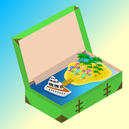 open road: Trip to Summer holidays. Travel to Summer holidays. Vacation. Road trip. Tourism. Travel banner. Open suitcase with landmarks, Sea and island. Journey. Travelling 3d isometric illustration.