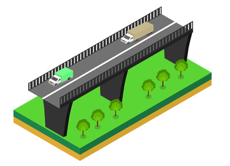 viaduct: Isometric bridge. Commercial transport. Various types of load and cargo. Logistics. Flat 3d Vector isometric illustration. Illustration