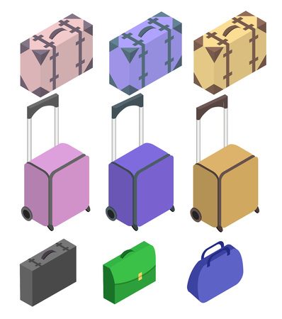 polycarbonate: Travelers suitcases. Suitcase, large polycarbonate suitcase. Travel plastic suitcase with wheels realistic. Flat 3d Vector isometric illustration.