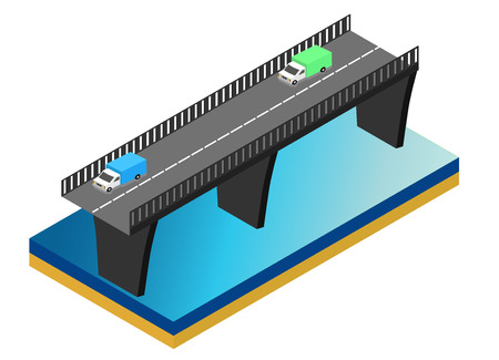 viaduct: Isometric bridge over the river. Commercial transport. Various types of load and cargo. Logistics. Flat 3d Vector isometric illustration. Illustration
