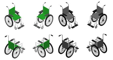 휠체어 상세한 아이소 메트릭 아이콘 벡터 그래픽 일러스트입니다. 큰 세트 다른 색상