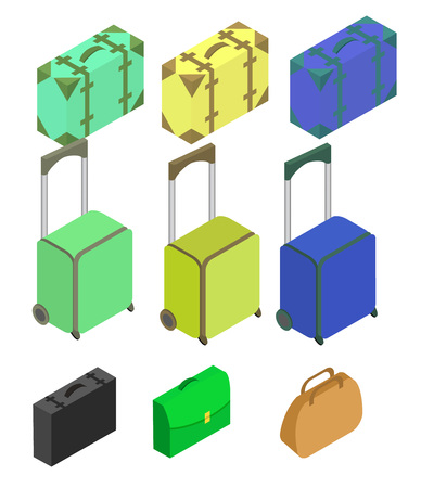 polycarbonate: Travelers suitcases. The objects are isolated against the white background. Suitcase, large polycarbonate suitcase. Flat 3d Vector isometric illustration. Illustration