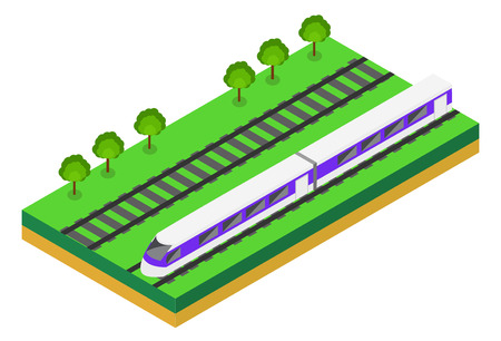 high speed rail: Fast Train. Vector isometric illustration of a Fast Train. Vehicles designed to carry large numbers of passengers. Isolated vector of modern high speed train. Illustration