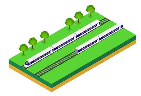 passengers: Fast Train. Vector isometric illustration of a Fast Train. Vehicles designed to carry large numbers of passengers. Isolated vector of modern high speed train. Illustration
