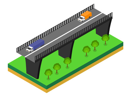 viaduct: Isometric bridge. Commercial transport. Various types of load and cargo. Logistics.