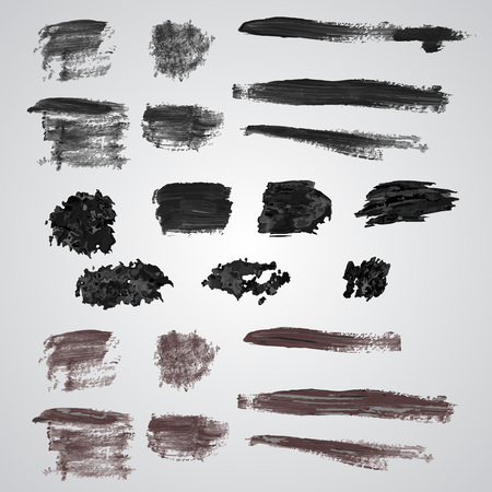 broad: Set of grunge  broad brush strokes. Black collection of black oil paint brush strokes isolated on white background. Paint brush strokes. Illustration